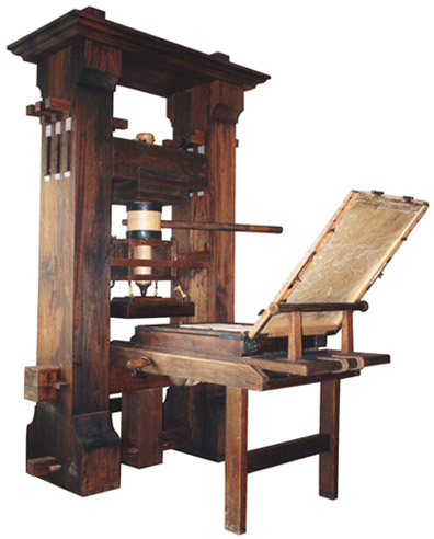 Who invented the printing press with movable type